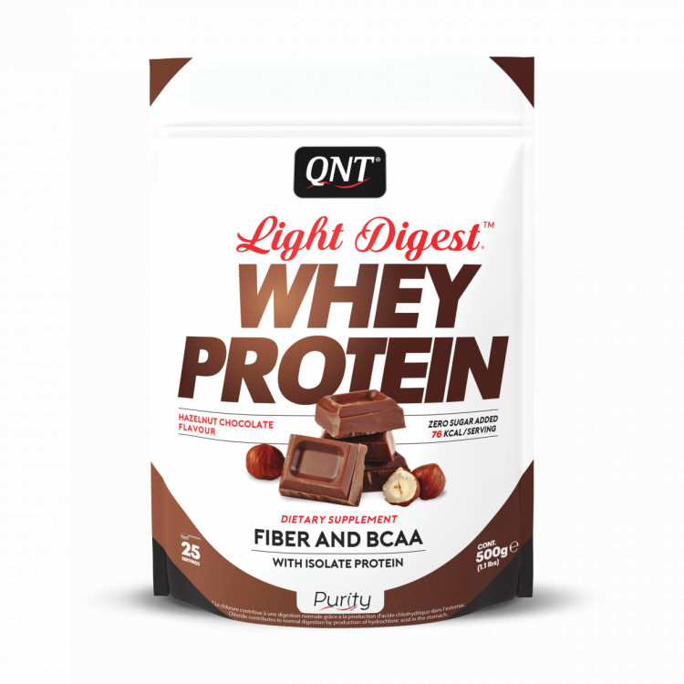 Протеин QNT Light Digest Whey Protein, шоколад с фундуком, 500г